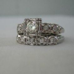 Vintage 1940s White Gold Diamond Engagement Ring & Wedding Ring..by Addy (wow  is my set from my mom!) <3