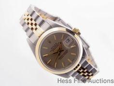 69163 Genuine Rolex Datejust 18k Gold Ss Ladies Watch 1 Yr HFA