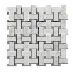 Carrara White Marble Honed Basketweave Mosaic Tile w/ Blue-Gray Dots