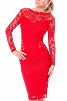 When in doubt wear RED! Gorgeous red lace hollowed out, low-cut back, lace spliced, long-sleeved Bodycon Dress.