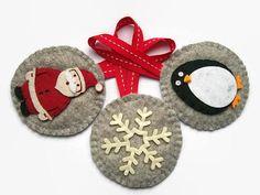 Felt Christmas Ornaments Set of 3 Christmas Tree Decorations