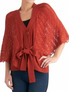 Crocheted knit cardigan sweater with bow tie from ModCloth #fall #fashion