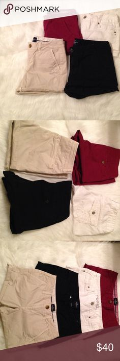 Shorts bundle 4 pair of shorts in this  amazing bundle! There are 3 pairs of American Eagle Outfitters Shorts . The black ,burgundy ,& khaki shorts . They all have button pockets on back & cuff around the leg. The white pair is from Rue 21 and have some wear to them . They are still in good condition though . They are really cute on. Burgundy shorts are a size 4 . White shorts size 1/2 . Black shorts a size 6. And the khaki shorts are a size 4 . Original price of AE Shorts are $40 a pair…