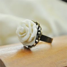Handmade White Rose Flower Ring from Cold Porcelain