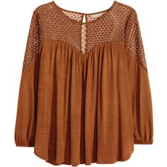 H&M+ Top with lace ($30) ❤ liked on Polyvore featuring tops, shirts, blouses, plus size, brown, womens plus tops, brown shirt, brown tops, drape top and brown lace top