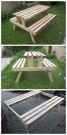 "The idea is to do a picnic table but with the minimum of work and keeping the ""Pallet"" aspect. I have cut the center of a pallet to create the two benches,"