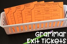 Grammar Exit Tickets great for covering parts of speech and ela concepts! Love these quick assessments@