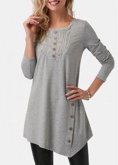 Lace Panel Grey Button Embellished Tunic T Shirt Girls Fall Fashion, Fashion Outfits, Girls Tunics, Short Tops, Plus Size Swimwear, Top Pattern, Cool Shirts, My Style, Buy Cheap