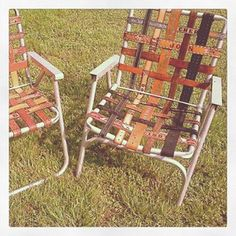 Finally a great way to salvage the old lawn chairs! Use leather belts instead of strapping! Love it!!!