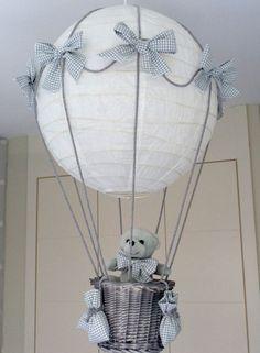 Lampara globo aerostatico con osito para bebe hecha a mano: