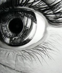Charcoal eye drawing