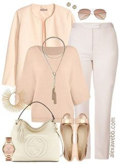 This plus size work outfit is for those rose gold lovers! When in doubt, keep things tonal by mixing pieces in the same color family. In my opinion, this is a very luxe look. Shop the look: Plus Size Jacket Necklace Plus Size Sweater Bracelet { Office Wear Plus Size, Plus Size Work, Look Plus Size, Plus Size Fashion For Women, Womens Fashion For Work, Work Fashion, Corporate Fashion Plus Size, Office Fashion, Fashion Clothes