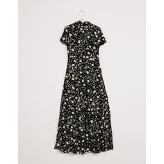 Long print dress - Dresses - Bershka Spain via Polyvore featuring dresses, long day dresses, long dresses, pattern dress, bershka and long length dresses