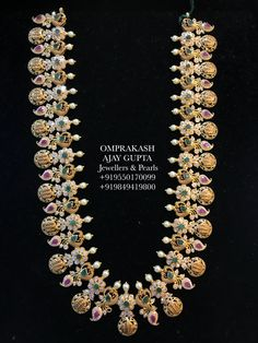 Long haaram with Ram parivar kasu hangings. Long haaram studded with rubies emeralds and diamonds. Gold Earrings Designs, Gold Jewellery Design, Gold Jewelry, Gold Necklace, Indian Wedding Jewelry, Bridal Jewelry, Indian Bridal, Bridal Jewellery Inspiration, Jewelry Patterns