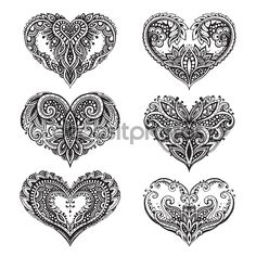 Pattern Of Zentangle Hearts Stock Vector - Illustration of line, invitation: 65483805 Kunst Tattoos, Body Art Tattoos, Small Tattoos, Tattoos For Daughters, Sister Tattoos, Familie Symbol, Teacup Tattoo, Heart Hands Drawing, Heart Tattoo Designs