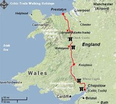 Offa's Dyke Path<br />Length: 177 miles - top to bottom of wales Devon Map, Walking For Health, Celtic Nations, Walking Holiday, Devon And Cornwall, Walking Paths, Trail Maps, Mountain Hiking, Cymru