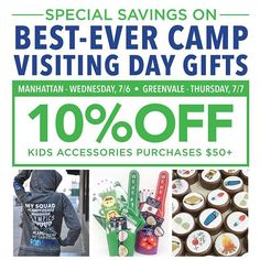 Visiting Day Savings Event This Wednesday in Manhattan and Thursday in Greenvale! #lesters #camplesters #visingday 😍🇺🇸👯⭐️🌊💥👾