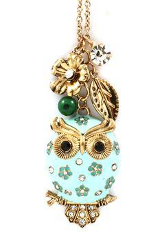 Mint Owl Necklace