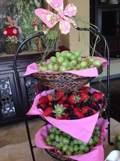 Love this set up for a Fairy party. The butterfly on the top and the pink napkins under the fruit just makes everything pop.....Image Only