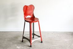 metal chair, child's chair, industrial chair, kid's chair, stool, beautiful red color, farmhouse, industrial decor, vintage by littlecows on Etsy
