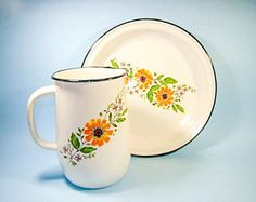 Vintage Enamelware Pitcher and Plate Set with Floral Pattern, White Enamel Pitcher, Enamelware Dish, Farmhouse Milk Jug Cookie Fruit Plate