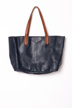 The Perfect Leather Tote in Navy