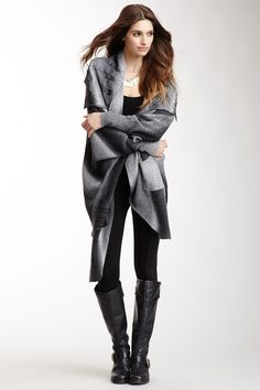 Asymmetrical Dolman Sleeve Cardigan, leggings + tall boots