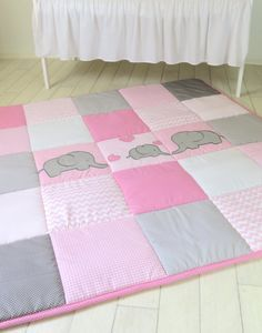 Baby Playmat Chevron Play Mat Pink Gray Baby by Customquiltsbyeva
