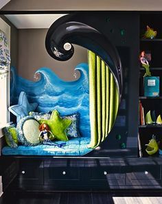 maximize small kids bedroom with alcove bed, and the theme is awesome! House Of Turquoise, Boys Room Decor, Kids Bedroom, Bedroom Decor, Bedroom Ideas, Bedroom Nook, Room Kids, Bedroom Designs, Master Bedroom