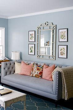 caitlin creer - inspiration for recovering the tufted sofa in the living room