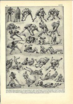 COMBAT SPORT WRESTLING Print - French Dictionary Illustration - 1948