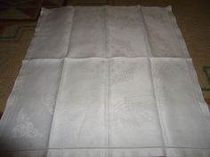 "Vintage Irish Linen Napkins.  Set of 6. Scroll Work, Hemstitched. 19"" X 19"""
