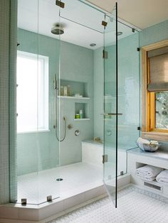 would give up my tub for this BIG shower! shower ideas walk in with seat Our Favorite Bathroom Upgrades to Consider for Your Next Remodel Bathroom Renos, Master Bathroom, Bathroom Remodeling, Bathroom Ideas, Bathroom Showers, Bathroom Designs, White Bathroom, Bathroom Windows In Shower, 1950s Bathroom