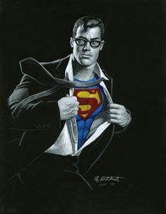 Superman - Black Board, comic art, Greg Hildebrandt