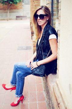 Leather H&M vest, levi's vintage jeans, red asos pumps