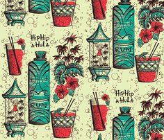 fabric by sophista-tiki on Spoonflower - custom fabric Vintage Tiki, Vintage Hawaiian, Tiki Art, Tiki Tiki, Kitsch, Tiki Decor, Tiki Lounge, Pattern Wallpaper, Fabric Wallpaper