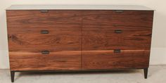 Walnut Dresser Drawers made in Hardwood with Steel Base and Metal Top. Soft Close Drawer Hardware. Custom Sizes. Delivery Options. Mockingbird Made Furniture in Austin, Texas.