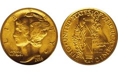 A 2016-dated gold mock-up of the Liberty Head or Winged dime.