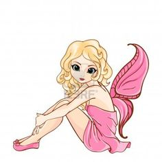 Little cartoon fairy in pink dress Stock Photo