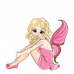 Little cartoon fairy in pink dress Stock Photo