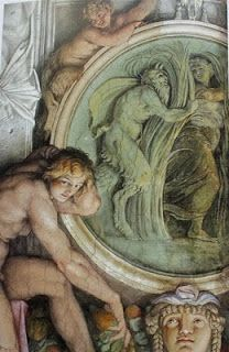 Annibale #Carracci. Frescoes Palazzo #Farnese, detail showing a cameo roundel of Pan and Syrinx