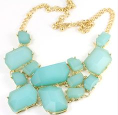 Green stone bubble necklace/bridesmaid necklace /bib by lover20, $15.99