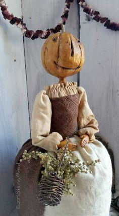 The Goode Wife of Washington County: September Inspires Pumpkin Pinkeep Paperclay Primitive Pumpkin, Primitive Crafts, Primitive Christmas, Primitive Autumn, Halloween Doll, Holidays Halloween, Vintage Halloween, Fall Harvest Decorations, Halloween Decorations