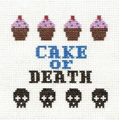 PATTERN - Eddie Izzard - Cake or Death Cross Stitch. Maybe a gift for Lillienthal Kehlet ; Cross Stitching, Cross Stitch Embroidery, Cross Stitch Patterns, Cross Stitch Skull, Needlepoint, Needlework, Sewing Projects, Textiles, Crafty