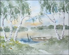 Birken am See - Aquarell - 24 x 30 cm - Original - Landschaft