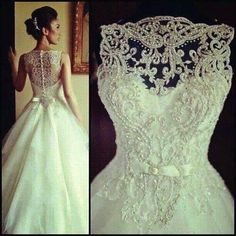 lace and pearl wedding dress
