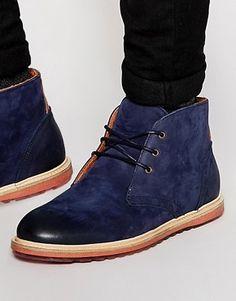 ASOS Chukka Boots in Navy Nubuck Leather
