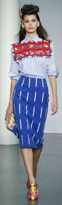Stella Jean S-16 RTW: striped shirt, embroidered bib, pencil skirt