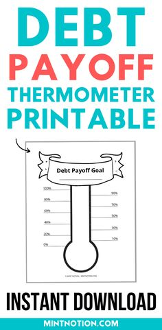 Free printable. Debt payoff goal. Debt thermometer. Pay off debt faster with this fun printable. This can be a great way to stay motivated to get out of debt. Track your progress and all your hard work with this free printable. Life On A Budget, Debt Free Living, Paying Off Student Loans, Create A Budget, Get Out Of Debt, Frugal Living Tips, Debt Payoff, Love Your Life, How To Stay Motivated