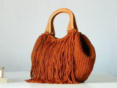 BAG, Knitted fringed Tote handbag, women fashion accessories, Knit women handbag, rusty, terracotta on Etsy, $125.08 AUD